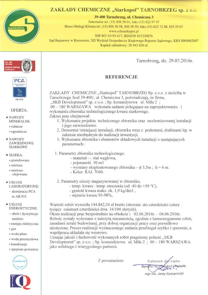 referencje Siarkopol SKB