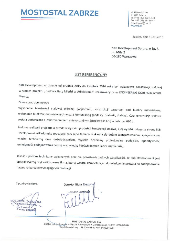 referencje Mostostal Zabrze